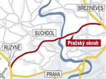 Plánovaný okruh mezi Ruzyní a Březiněvsí.