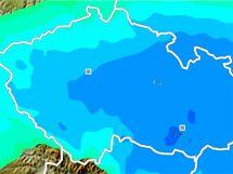 Předpověď počasí (srážky) na 8. ledna v 13:00 hodin.