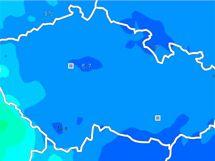Předpověď počasí (srážky) na 8. ledna v 19:00 hodin.