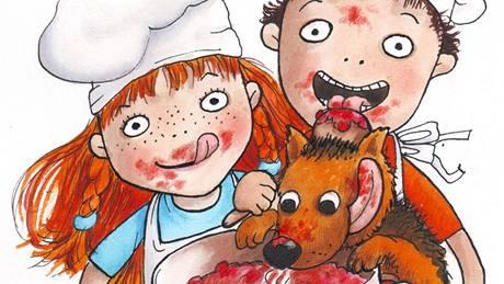 Eliška, Vítek a Čeniška si hrají na kuchaře.