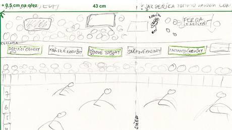Náčrtek budoucí podoby stránek časopisu Pojď si hrát.