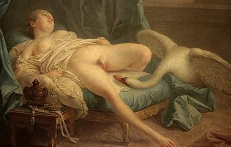 Léda s labutí, obraz Francoise Bouchera, malíře 18. století