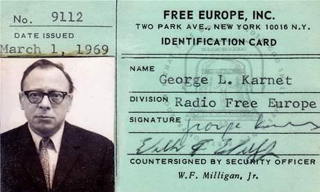 Jiří Kárnet na průkazce Radia Svobodná Evropa