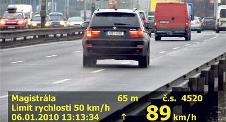 Řidič s SPZ Zlínského kraje jel na padesátce 89 km/h.