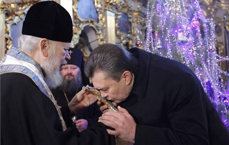 Viktor Janukovyč u patriarchy pravoslavné církve