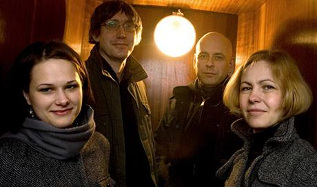 Tým Revolver Revue: Edita Beníšková, Marek Vajchr, Viktor Karlík a Terezie Pokorná, Praha, zima 2008