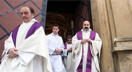 Poslední rozloučení s Ivanem Medkem proběhlo v bazilice svaté Markéty na pražském Břevnově. (14. ledna 2010)