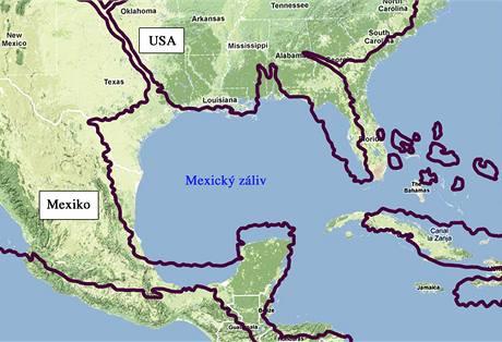 Porovnání mapy Mattea Ricciho s reálným tvarem pobřeží Ameriky a Antil