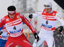 Dario Cologna míří pro třetí příčku v Tour de Ski, za ním stoupají Marcus Hellner (6) a Jean Marc Gaillard