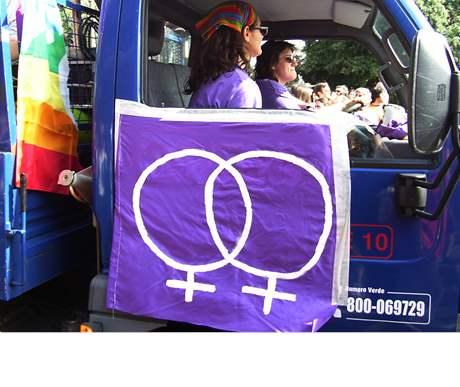 Lesbický symbol na jedné z veřejných akcí