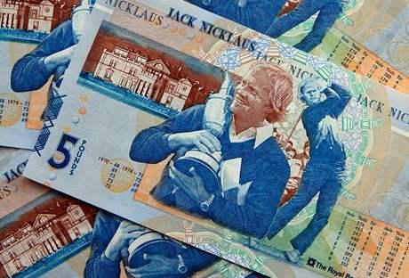 Jack Nicklaus - stylizovaná pětilibrová bankovka.
