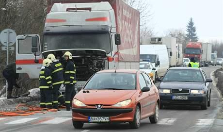 Požár kamionu v Nesovicích na Vyškovsku