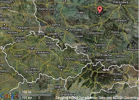 mapa Lodže