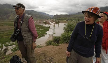 Švýcarští turisté v oblasti záplav v Cuzcu