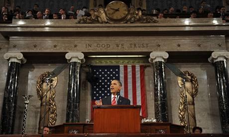 Barack Obama přednáší svou první zprávu o stavu unie