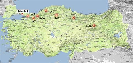 Zemětřesení v severoanatolském zlomu v Turecku.