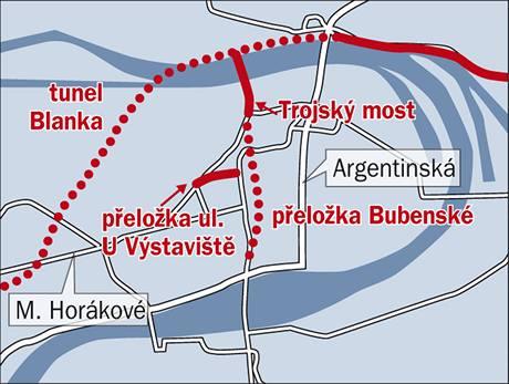 Tunel pod Holešovicemi - z Hlávkova mostu pojedou řidiči rovnou do tunelu, který se vynoří u bývalé holešovické elektrárny. Zde silnice naváže na nový Trojský most přes Vltavu. Za ním bude nájezd do tunelu Blanka.