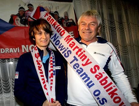 Martina Sáblíková a její trenér Petr Novák