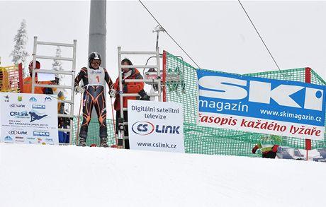 Petr Pravda z iDNES.cz na startu rychlostního závodu ve Špindlu