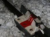 Výkolejka, která vykolejila nákladní vlak u Kolína (19.1.2010)