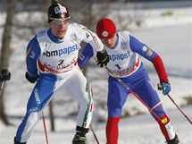 Jason Lamy Chappuis (vlevo), Alessandro Pittin a Pavel Churavý (vpravo)