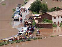Zaplavená oblast poblíž města Cuzco (26. ledna 2010)