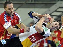 Česko - Německo: Kamil Piskač (vlevo) brání Christopha Theuerkaufa
