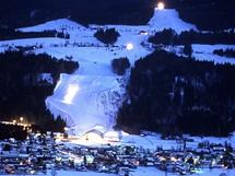 Rakousko, Nassfeld. Noční lyžování na sjezdovce Carnia