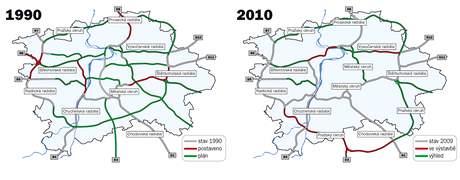 Plánované pražské radiály v roce 1990 a 2010.