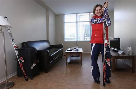 Šárka Sudová na svém pokoji v olympijské vesnici