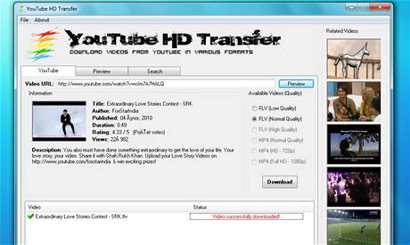 YouTube HD Transfer