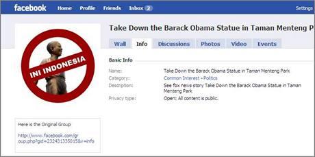 """Skupina na Facebooku nazvaná """"Odstraňte sochu Baracka Obamy v Taman Menteng parku"""""""