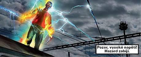 Kampaň ČD varující před lezením na střechy vlaků.