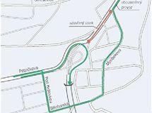 Mapa objízdné trasy v době, kdy bude uzavřena Patočkova ulice v Praze