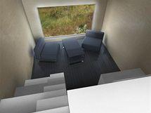 Pohled z ložnice rodičů do obývacího pokoje - vizualizace
