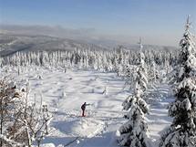 Krkonoše, pohled z vrcholu Šeřín