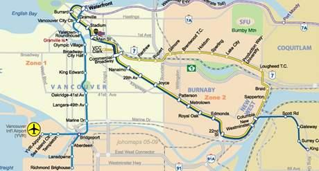 Sky Train Vancouver - mapa tratí