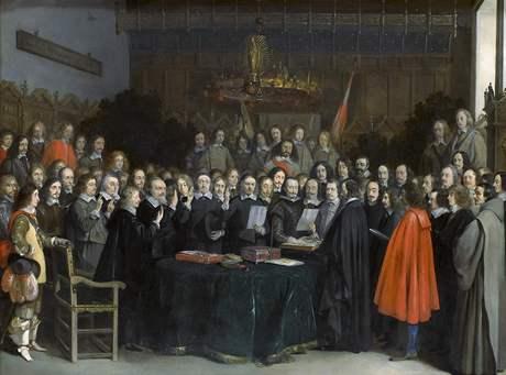 Vestfálský mír uzavíraný v Münsteru na obraze malíře Gerarda ter Borcha (1617-1681), plátno je z roku 1648