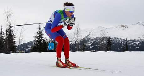 Česká běžkyně na lyžích Kamila Rajdlová na trati závodu na 10 kilometrů.