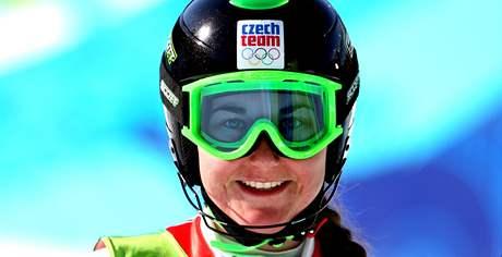 Šárka Záhrobská pózuje v cíli po skvěle zajetém slalomu v rámci superkombinaci, díky kterému skončila na sedmém místě.