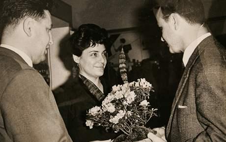 Erika Bezdíčková při návštěvě v Lipsku.