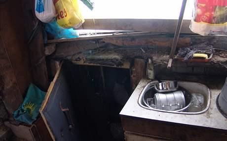 Provizorní příbytek bezdomovců na znojemském Pahorku