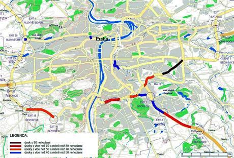 Úseky silnic, kde řidiči v Praze v roce 2009 nejčastěji bourali