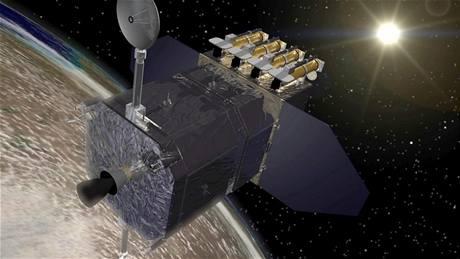 Vizualizace družice SDO na geosynchronní dráze kolem Země