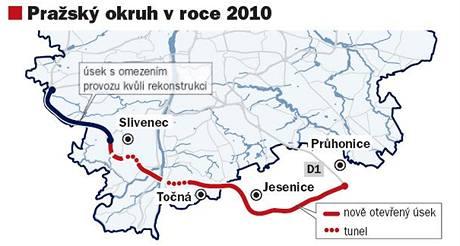 Úsek pražského okruhu, kde bude omezen provoz v roce 2010