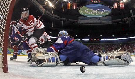 Slovenské hokejistky dostaly od Kanady osmnáct gólů.