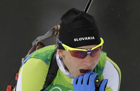 JSEM ZLATÁ? Slovenská biatlonistka Anastasia Kuzminová možná sama neveřila tomu, že se stala olympijskou vítězkou.