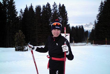 Itálie, Dolomity. Kateřina Neumannová na Passo Lavazé