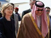 Americká ministryně zahraničí Hillary Clintonová při návštěvě Saúdské Arábie jednala s králem Abdalláhem. (15. února 2009)