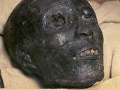 Tvář egyptského faraona Tutanchamona.